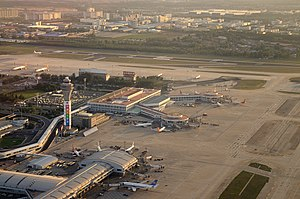Beijing Capital International Airport -  Aerial view of PEK Terminal 1 and 2