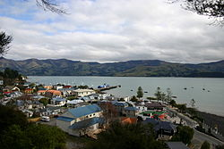 Akaroa township and its main wharf