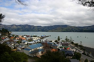 Akaroa - Akaroa township and its main wharf