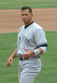 Alex Rodriguez taking his position at 3rd base at the beginning of a new inning