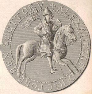 Alexander I of Scotland - The reverse of the seal of Alexander I, enhanced as a 19th-century steel engraving.