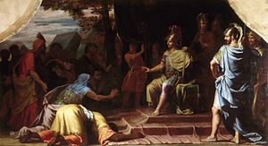 Kalanos - Alexander the Great Receiving News of the Death by Immolation of the Indian Gymnosophist Calanus - Jean-Baptiste de Champaigne - 1672