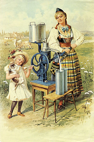 Centrifuge - Early 20th-century advertising poster for a milk separator.