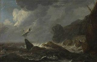 Schiffbruch vor felsiger Küste (?)