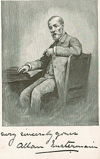 A drawing of Quartermain as a middle-aged man seated at a desk