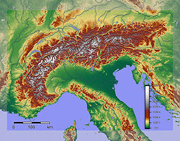 Relief of the Alps. See also map with international borders marked