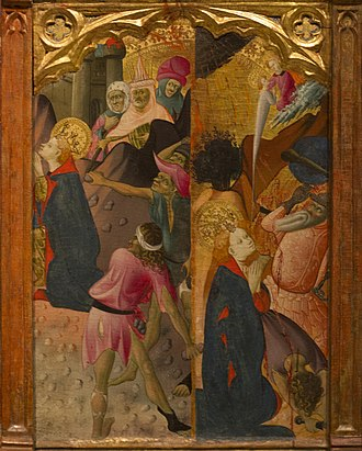Altarpiece of Saint Barbara - Lower right panel: Saint Barbara is stoned, then beheaded by her father.