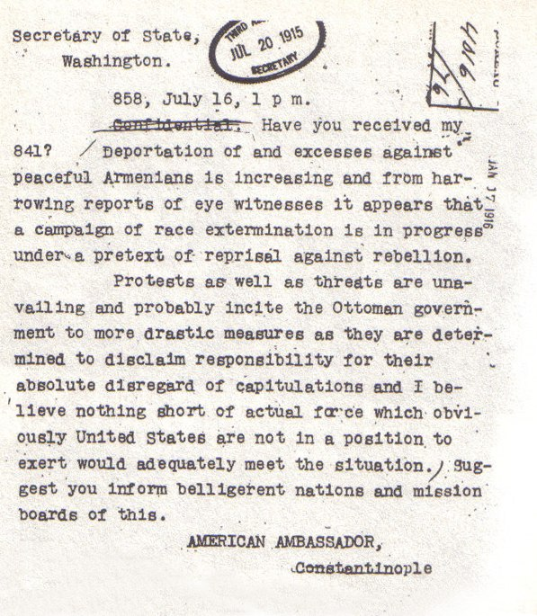 AmbassadorMorgenthautelegram