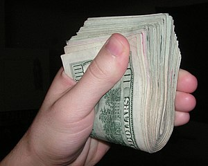 Cash - A wad of United States currency