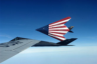 121st Air Refueling Wing - A pair of specially painted F-117 Nighthawks fly off from their last refueling by the Ohio National Guard's 121st Air Refueling Wing.