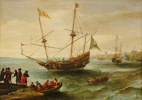 The Algerine, an Algerian battle ship manufactured in the port of Jijel during the Barbary corsairs era An Algerian ship off a barbary port (C17).jpg