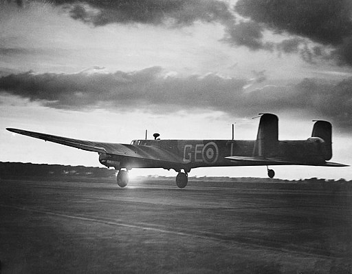 An Armstrong Whitworth Whitley Mk V of No. 58 Squadron RAF takes off on a night sortie from Linton-on-Ouse, Yorkshire, June 1942. CH251