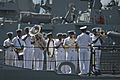 An Indian Navy band performs aboard the stealth frigate INS Sahyadri (F49) as the ship arrives at Joint Base Pearl Harbor-Hickam, Hawaii, July 1, 2014, to participate in Rim of the Pacific (RIMPAC) 2014 140701-N-LP801-029.jpg