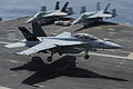An U.S. Navy F-A-18F Super Hornet aircraft assigned to Strike Fighter Squadron (VFA) 103 lands aboard the aircraft carrier USS Dwight D. Eisenhower (CVN 69) March 18, 2013, in the Red Sea 130318-N-GC639-018.jpg