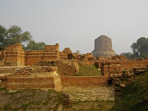 History of Buddhism in India - Ancient Buddhist monasteries near Dhamekh Stupa Monument Site, Sarnath