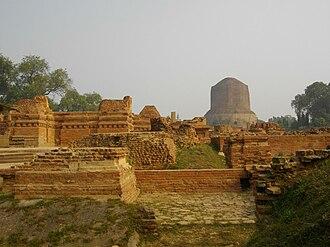 History of Buddhism in India - Ancient Buddhist monasteries near Dhamekh Stupa Monument Site, Sarnath