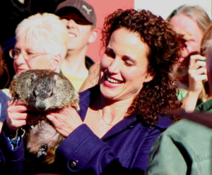Groundhog Day (film) - Andie MacDowell with a groundhog, 2008