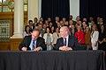 Andrew Weaver and John Horgan sign coalition agreement (34189177963).jpg