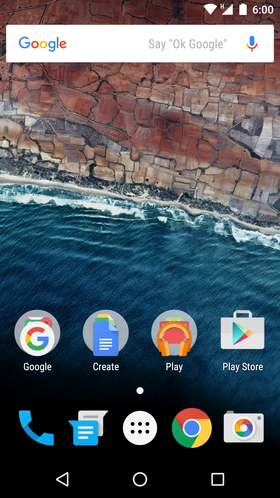 Écran d'accueil Android M Developer Preview