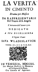 Antonio Vivaldi - La verità in cimento - title page of the libretto - Venice 1720.png