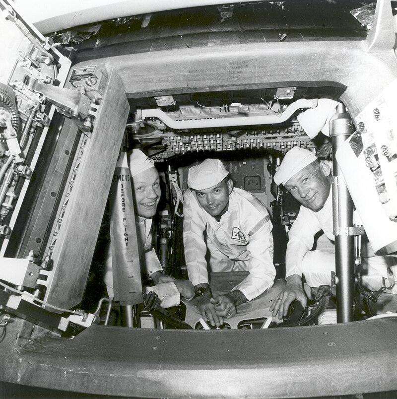 Apollo 11 Crew Conduct Checks in the Command Module - GPN-2002-000030.jpg