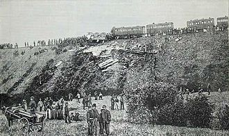 Armagh rail disaster - Contemporary photograph of the aftermath of the runaway
