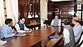 Arun Jaitley holding his first meeting with the Finance Secretary, Dr. Hasmukh Adhia, the Secretary (Expenditure), Shri A.N. Jha, the Secretary, Department of Financial Services, Shri Rajeev Kumar and the Chairman, CBDT.JPG