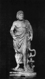 Statue of Asclepius with his symbol, the serpent-entwined staff