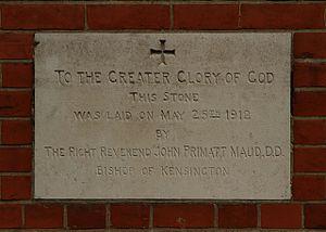John Maud (bishop) - A foundation stone laid by John Maud in 1912 at St Hilda's parish church, Ashford, Middlesex (now Surrey)