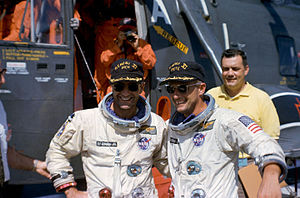 Pete Conrad - Conrad (right) with his Gemini 11 crewmate Dick Gordon, following their flight