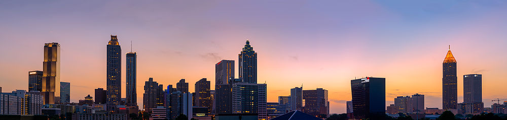 The Downtown skyline at sunset