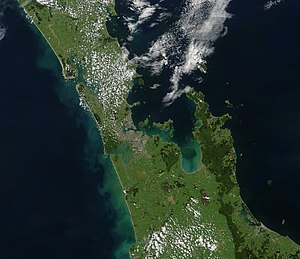 Auckland Region - True-colour image of the Auckland Region showing Auckland as the brownish area just left of centre, with the Hauraki Gulf to the right.