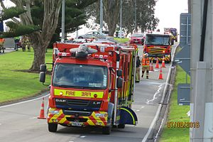 New Zealand Fire Service - Auckland 2018 Hazmat Appliance attends a tanker rollover with an unknown substance leaking.