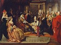 August Wenzel Mantler - Kaiser Karl VI. überreicht Prinz Eugen nach der Schlacht bei Belgrad den Ehrendegen - 7767 - Kunsthistorisches Museum.jpg