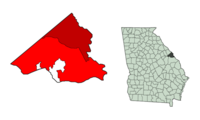 Location of the consolidated areas of Augusta and Richmond County in the state of Georgia. The area marked in maroon identifies the original city limits pre-1995; the area in red shows the city limits of the consolidated city-county.
