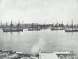 HMS Egeria (1873) - Ships of the Royal Navy's Australia Station, moored in Farm Cove, Sydney, c.1880. Egeria is the left-most ship