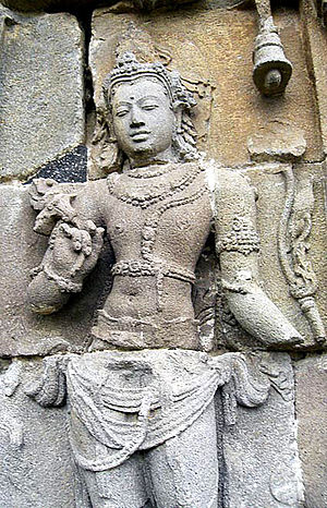 Avalokiteshvara on the wall of Plaosan temple, Javanese Sailendran art, 9th century.