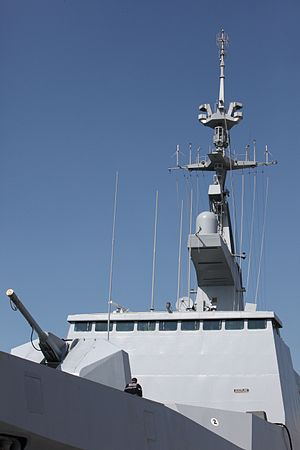 Honneur, patrie, valeur, discipline - The superstructure of the stealth frigate ''Surcouf''; the word Discipline can be seen on the plaque affixed to the port side of the front wall.