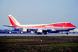 Avianca - Avianca Boeing 747 at Miami International Airport (1993).