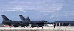 Aviano - USAF F-16s in the Aviano air base.