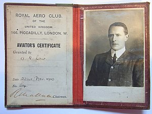 Archibald Reith Low - Aviator's Certificate No.34