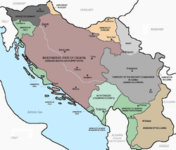 The Governorate of Montenegro is shown on this map of the Axis occupation of Yugoslavia to the immediate west of Albania shown in white and a darker shade of green.