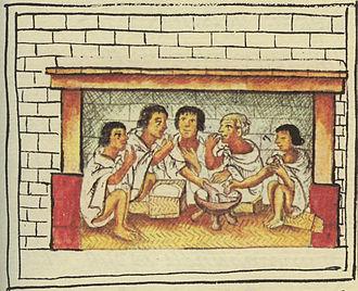 Aztec cuisine - Aztec men sharing a meal. Florentine Codex, late 16th century.