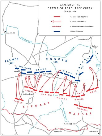 Battle of Peachtree Creek - A sketch of the Battle of Peachtree Creek, July 20, 1864.