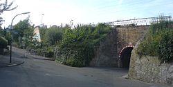 """Von vorne rechts fotografiert: Bruchsteinmauer mit Graffitispuren, dahinter begrünte Hänge. Die linke Mauer überwuchert. Mittig eingeschnitten die Tunneldurchfahrt mit Warnhinweisen. Oberhalb des Tunnelportals an einem Geländer ein weißes Schild mit schwarzer Aufschrift """"DORTMUND - ASSELN MITTE""""."""