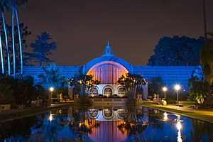 Balboa Park Gardens - Botanical Building at night