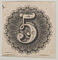 Banknote motif- number 5 against a circular panel of lace-like lathe work with a scalloped edge MET DP837954.jpg
