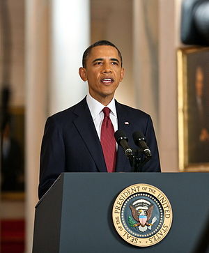 President Barack Obama delivers a statement in...