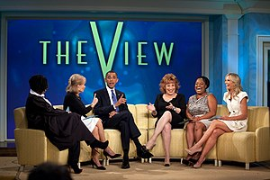 Sherri Shepherd - The View's panel (left–right Whoopi Goldberg, Barbara Walters, Joy Behar, Shepherd, and Elisabeth Hasselbeck) interview United States President Barack Obama on July 29, 2010.