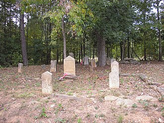 Douglasville, Georgia - Photo of the White section of the Basket Creek Cemetery, including Civil War soldiers' graves and one Native American grave (several rocks are piled on top located in the back)